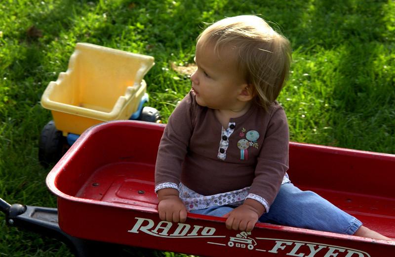 Yvie in wagon