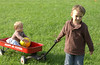 Xavier & Yvie with wagon