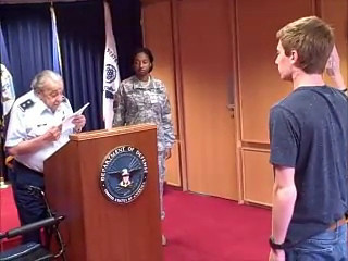 Asher being sworn in to the Air Force by his grandfather, Major General Stanley C. Kolodny USAF (RET.)