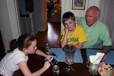 From left, Trish's kids Stephanie and Matthieu DeHoorne, Michael Freeman.