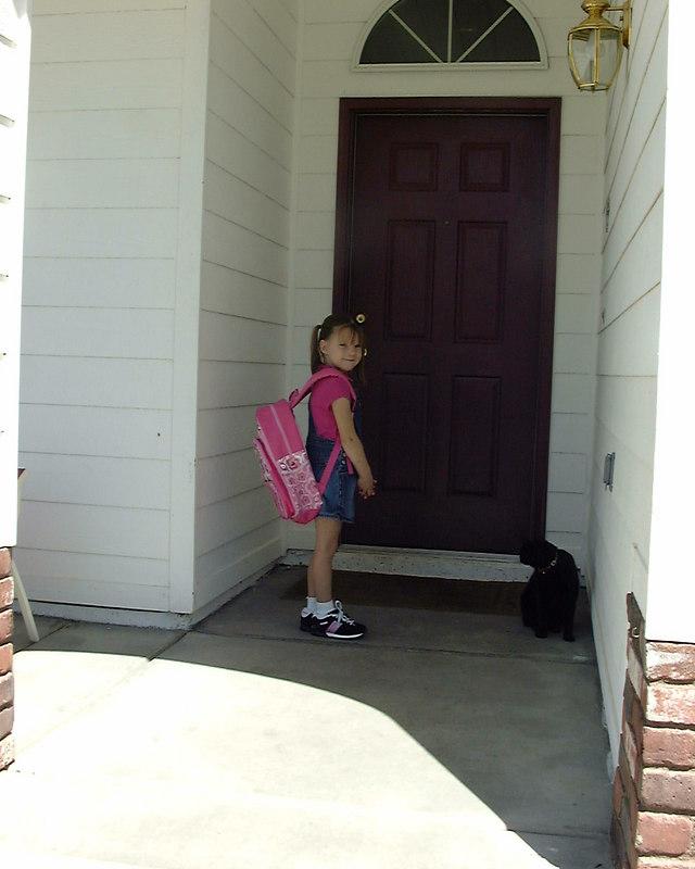 Faith Danielle Atkins, first day of Kindergarten, August, 2004.