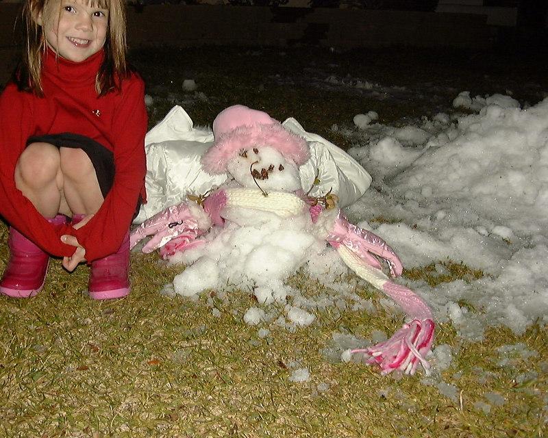 Faith and little snowman, Las Vegas, Thanksgiving, 2004.