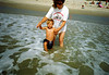 Tommy and Grandma (Robin), at beach in New Jersey, about 1993.