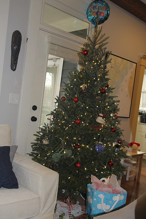 Schwalb Christmas tree (with get well balloon in background b/c Carter had been in hospital)