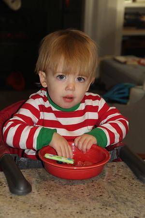 Carter enjoying some fruit