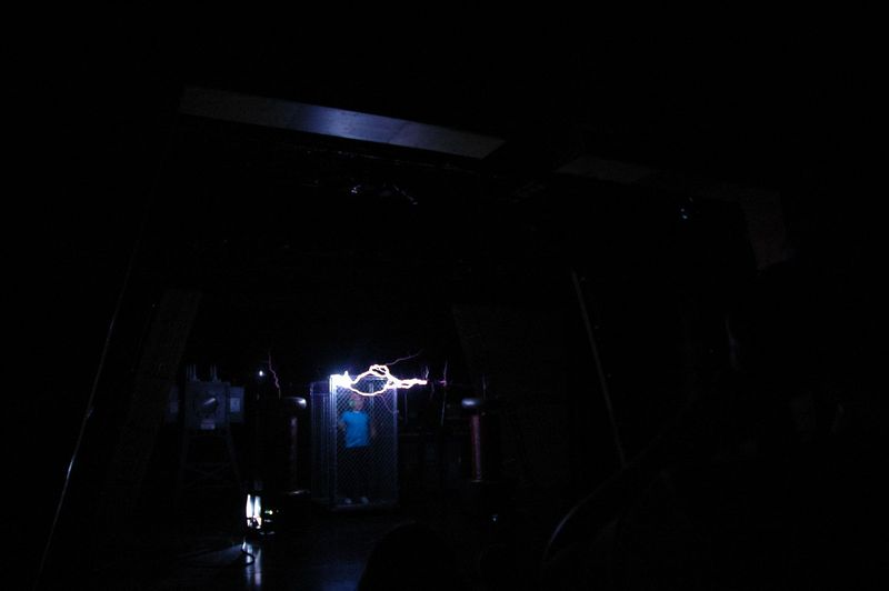 During the show, demonstrating something like a million volts of electricity.