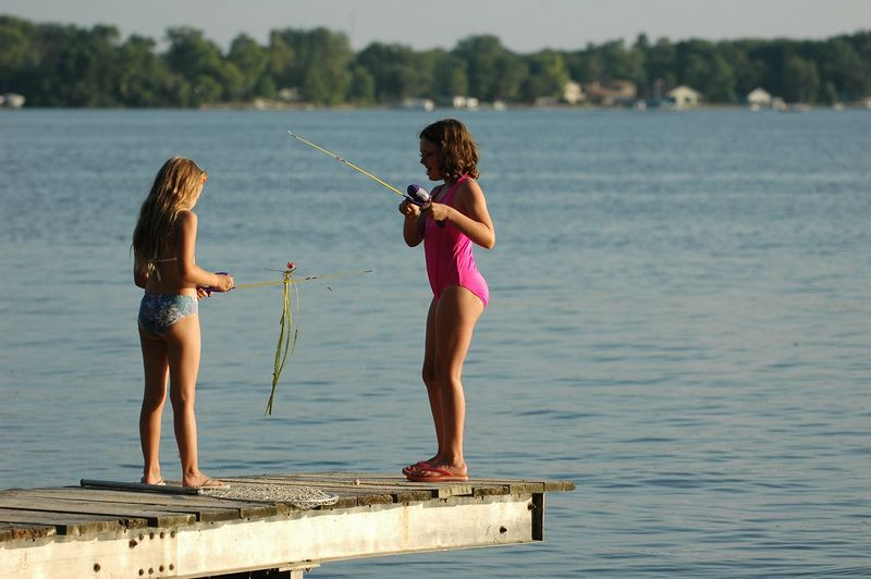 Rowan and McKenna decided they wanted to go fishing.  They caught plenty of lake-weed.