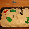 Camden and Mommy made Daddy's favorite cake...red velvet!  And we even topped it with golf decorations.