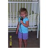 Camden singing with the microphone at Aunt Rachel's birthday party.