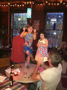 hannah and logan dancing in Tom's barn