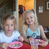 The Hodder's are back from Australia. Hallie and Allyson enjoying ice cream sundaes
