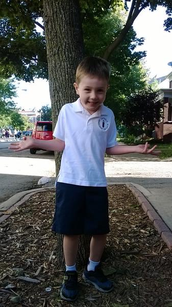 Gabe in his new school uniform