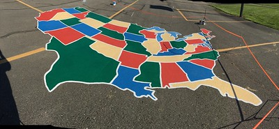 Two coats on the entire border and each state line.