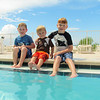 Matthew, Bryan, Spencer Lisek, pool at our condo, Clearwater Beach, 9/13/2013