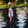 Elaine Park's Madelyn reflecting in the reflection pool.