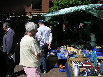 Aunt Blanche and John at the outdoor market in Gloucester Green, in Oxford.