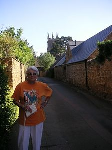 Here's Aunt Blanche in Tay's Gateway, Deddington, as we walked into the center of the village