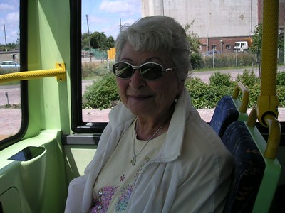 Aunt Blanche on the Water Eaton shuttle bus, heading for Oxford