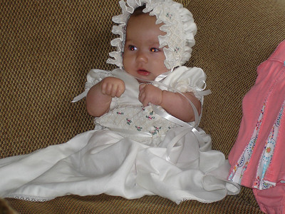 Adelaide tried on her baptism dress