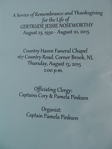 Order of Service August 13, 2015