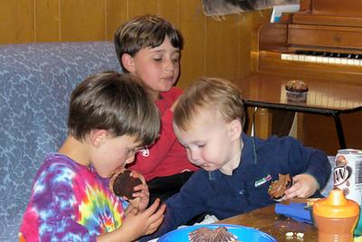 Eating cupcakes -- Paul, Jimmy, Daniel