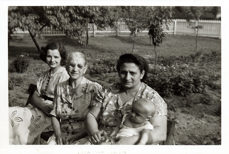 Bernie, Nana (Gram Toots' Mom), Gram Toots and Marty, circa summer 1947