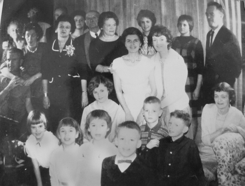 Christmas Day gathering of the McDonald Clan at Bill and Mary's in West Vancouver 1963.<br /> Back L- Josie, John, Red, Joanne, WB, Eileen, Patti, Soosi, Bill<br /> Middle L- John, Mary, Gen, Paula, Mickey, Louise, Loretta<br /> Front L- Lorraine, Eileen, Martha, Ian, Billy, David
