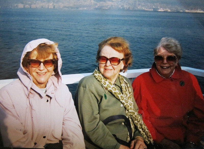 The Globe Trotters<br /> Joanne, Teeny and Maureen traveled the world together.<br /> Returning from the Isle of Capri April 1996.