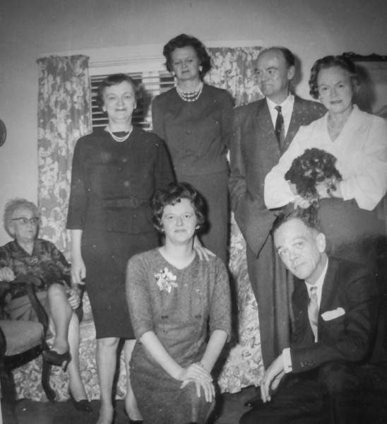 Josephine, Loretta, Gen, Red, Eileen, Joanne, Bill at the McDonald's Dunbar house.