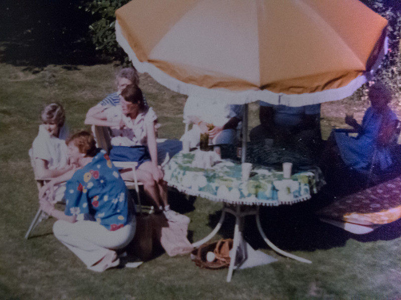 Celebrating Bill's birthday in the backyard at Gen's
