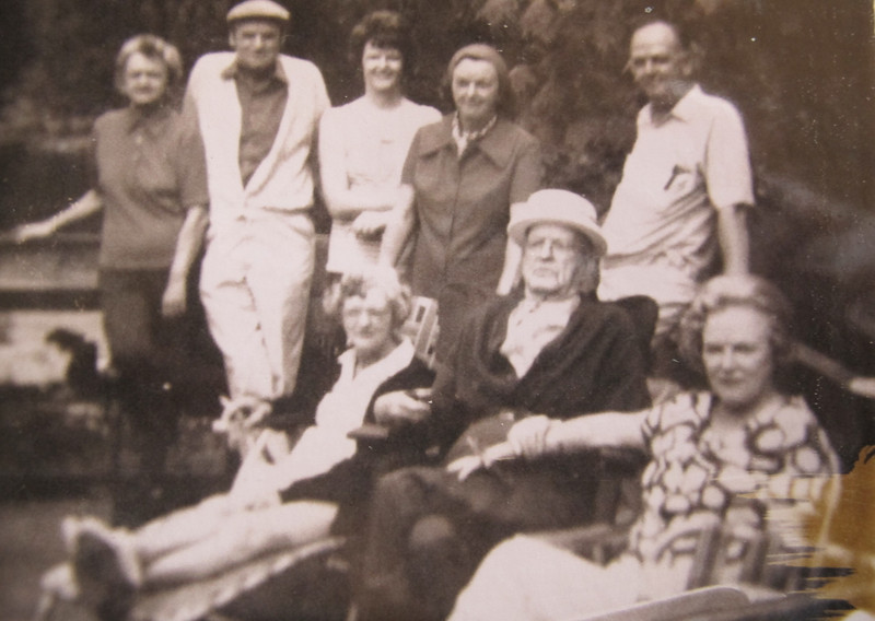 Celebrating WB's birthday on Bowen Island at Mountain's cottage on the Point.<br /> Gen, Red, Joanne, Teeny, Bill, Loretta, WB, Eileen