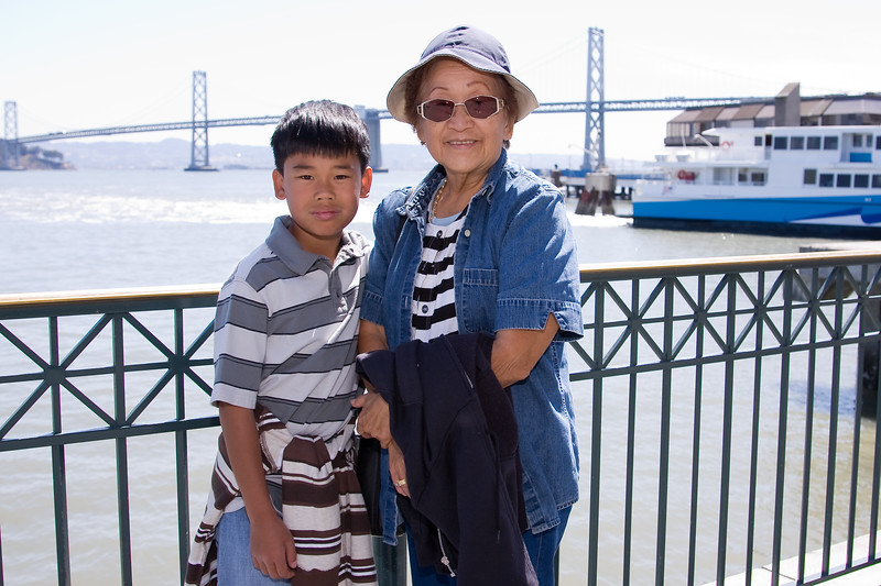 Auntie Yvonne and Andrew at Pier 1 outside of the Slanted Door Restaurant