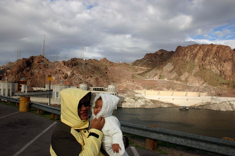 At hoover Dam. It was soooooooo cold and windy.