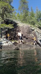 swam across Cassel Lake; jumped in.