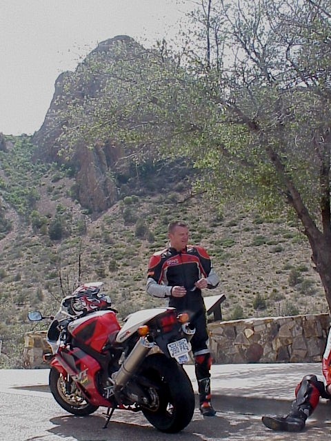 Me and my RC51 in the BigBend Park headed to the Chisos Lodge from the River Road. I think it was 106F in the shade there on this day in mid May...