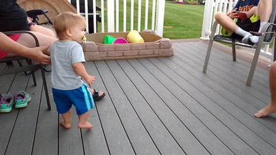 Max first starts to really walk.