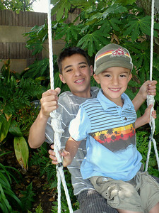 Kyle & Calvin on the swing