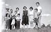 Estelle & Clarence Baggett, Michelene Marcotte, Roy Baggett, Janine, Sherri, Helen, and Michael Marcotte, Lucille, Carol Robert and John Davison, August 1956.