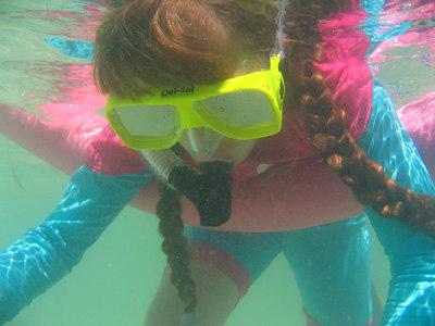 Natalie snorkeling.