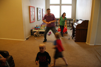 Dancing in the family room with Greg, Julie, Carson and Trevor.