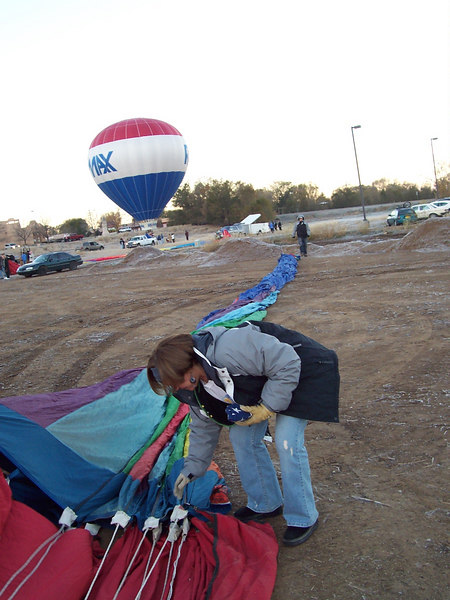 The deflated balloon stretches across the launch field. It will soon come to life once inflation starts but we were too busy helping get everything ready to take pictures.