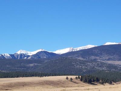 Snow-topped mountains near Eagle Nest Lake.