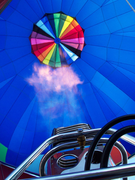 A view inside the inflated balloon as our pilot gives it a blast from the burners to get us off the ground.