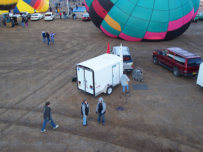 Looking back down at our chase truck and ground crew as we begin to drift up into the sky.
