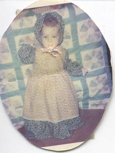 1978-1 Dan wearing Holly Hobby Dress and bonnet