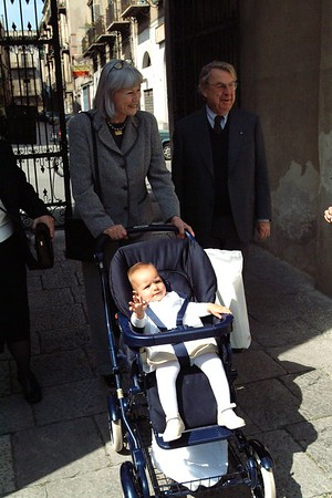 Arriving at the Church with her grand parents.