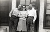 George, Barbara, unknown, in front of the Apartment in Los Angeles, 1948