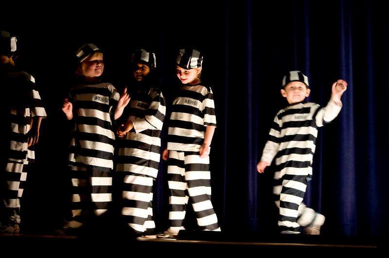 The kindergarteners perform Jailhouse Rock