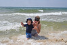 Playing in the waves with my sonny!