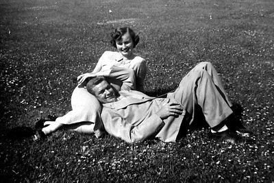 On the grass in front of Mom's Berkley dorm.
